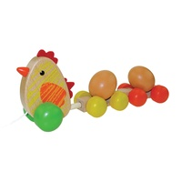 Wooden hen with eggs pull along toy