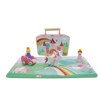 Unicorn Puzzle in tin with wooden toys