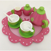 8 PC WOODEN FLOWER TEA SET - PINK