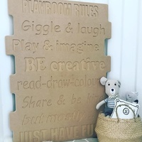 SIGN-PR-M KIDS PLAY ROOM SIGN - UNPAINTED MDF
