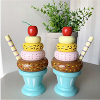 WOODEN ICE CREAM SET OF TWO