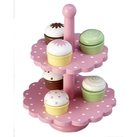WOODEN CAKE STAND - TWO LEVEL