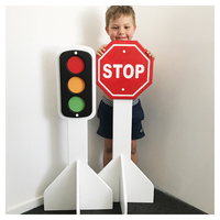 TRAFFICSET01-M TRAFFIC LIGHT AND STOP SIGN - UNPAINTED MDF