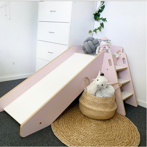 Kids Wooden Slide - Pink and White